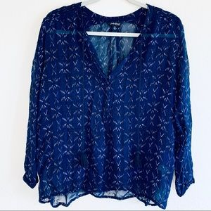 Lucky Brand Blue Tribal Sheer Button Down Blouse